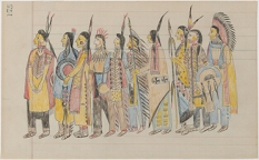 Unidentified Artist, Kiowa Warriors in Regalia (Former Title: Ten Kiowa Men), c. 1890